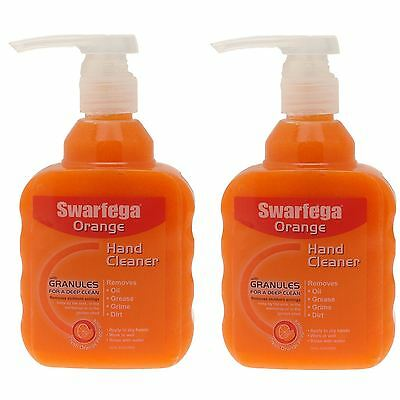 2x SWARFEGA ORANGE 450 ML PUMP NATURAL HAND CLEANER CLEANSER - GARAGE WORKSHOP
