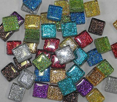 Glitter tiles for mosaic art & craft choice of colours  -200g bag - glass tiles