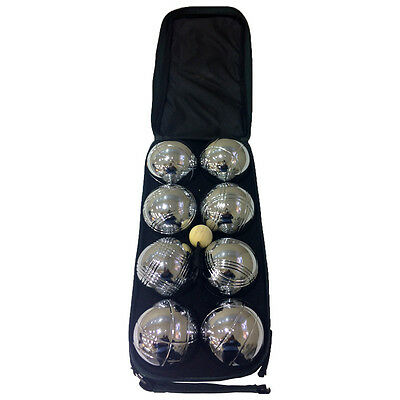 New Outdoor Garden Games Pentanque Chrome Boules Set Of 8 In Carry Bag