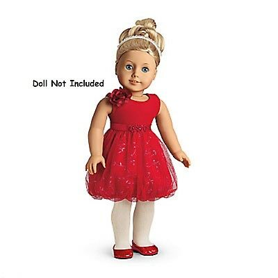 American Girl Sparkle Party Dress & Charm NIB MYAG Shoes Valentines Red NO DOLL