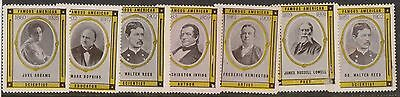 (RX24) 1960 USA 7 Cinderella stamps famous Americans