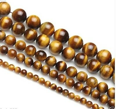 """4mm- 16mm Tiger's eye stone round Loose beads 15"""""""