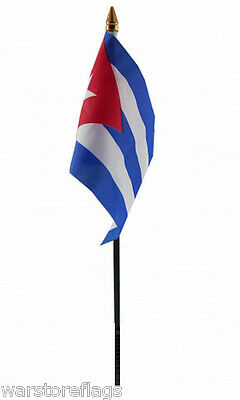 "SMALL HAND WAVING FLAG CUBA 6"" X 4"" cuban flags Havana"