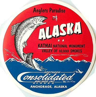 Anglers Paradise / ALASKA ~CONSOLIDATED AIRLINES~ Great FISH Luggage Label