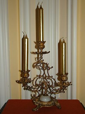 "Antique Bronze/solid Brass Victorian Ornate Footed Candle Holder 11 7/8""tall"
