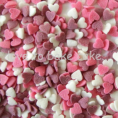PINK WHITE & LILAC HEARTS - Edible Sugar Cupcake Sprinkles Cake Decoration