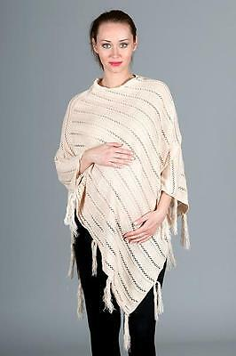 Top Maternity Pregnancy Knit Crochet Round Neck Poncho Shawl Jumper One Size