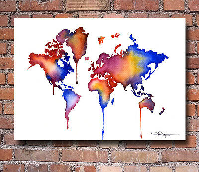 World Map Watercolor Painting Art Print by Artist DJ Rogers