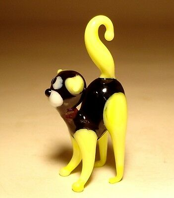 "Blown Glass ""Murano"" Art Figurine Animal Small Kitten CAT with Yellow Tail"