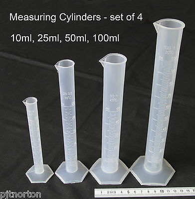 Measuring Cylinder set of 4 - 10ml 25ml 50ml 100ml  Polypropylene NEW Plastic