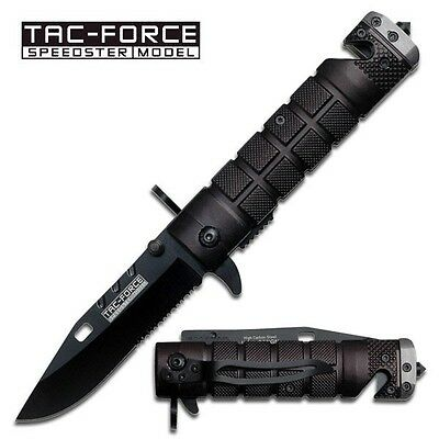 TAC-FORCE Assisted Opening Sawback Bowie Rescue Glass Breaker Pocket Knife-Black