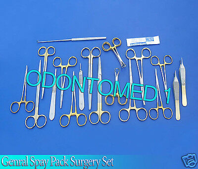 50 Pcs Gold Handle General Surgery Spay Pack Surgical Dental Instruments Kit