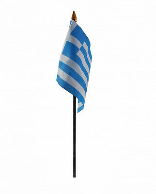 GREECE flag PACK OF TEN SMALL HAND WAVING FLAGS Greek Athens