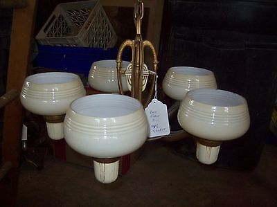 Deco Cup shade chandelier complete   (LT 260)