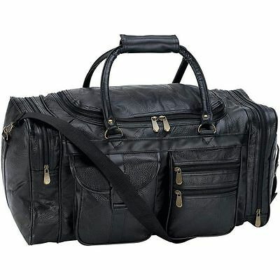 """Black 21"""" Leather Travel Duffle Bag, Overnight Case Carry-On Mens Tote Suitcase"""
