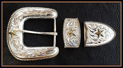 """1 1/2"""" Hand Engraved Western Silver Belt Buckle Set w/Gold Rope Edge & Stars"""