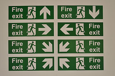Fire Exit Sign With Choice of Directional Arrow Self Adhesive Sticker 300x100mm