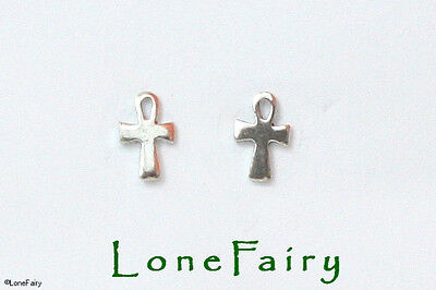 Solid 925 Sterling Silver Ankh Logo Stud Earrings Egyptian Sign of Life