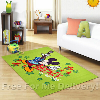 KIDS EXPRESS MICKEY MOUSE GUITAR FUN FLOOR RUG (XS) 100x150cm **FREE DELIVERY*