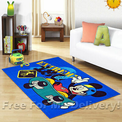 KIDS EXPRESS MICKEY MOUSE SKATER FUN FLOOR RUG (XS) 100x150cm **FREE DELIVERY**