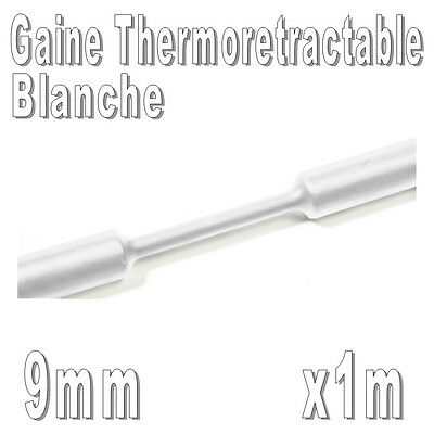 Gaine Thermo Rétractable 2:1 - Diam. 9 mm - Blanc - 1m
