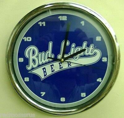 """BUD LIGHT Beer 12"""" battery operated clock Baseball style logo table wall NEW"""