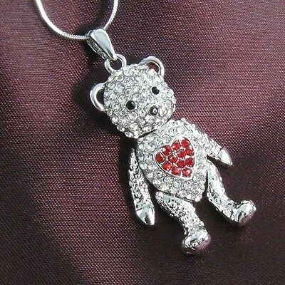 Teddy Bear Necklace Pendant Chain Valentine's Day Gift Love Red Heart Animal p2