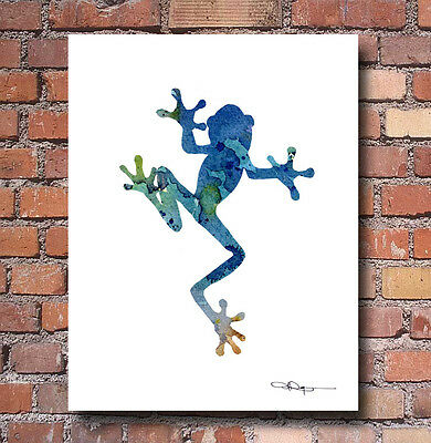 Blue Tree Frog Abstract Watercolor Painting Art Print by Artist DJ Rogers