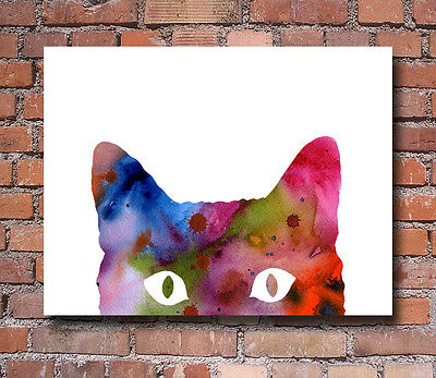 """Cat Abstract Watercolor Painting 11"""" x 14"""" Art Print by Artist DJ Rogers"""