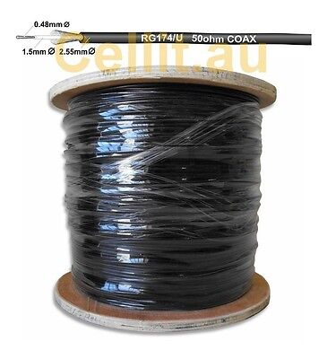 RG174 COAX CABLE. FLEXIBLE COAXIAL PATCH LEAD, ANTENNAS ETC. 2.5mm x 50m - REEL