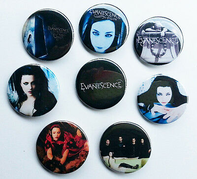 8 piece lot of Evanescence pins buttons badges