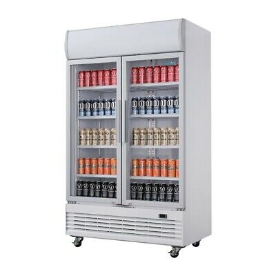 Polar CD984-A Refrigerated Upright Display Fridge Double Glass Door 944Lt Cafe