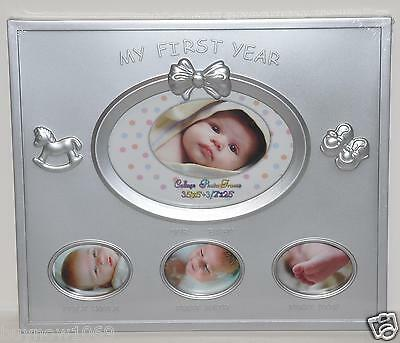 My First Year Baby Picture Frame New Silver Baby Shower Gift Newborn Frame Cute
