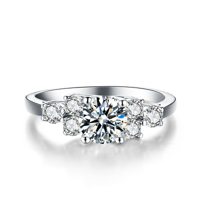 Ladies 925 Sterling Silver 1.25 Ct Simulated Diamond Wedding Engagement Ring