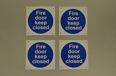 Fire Door Keep Closed *Pack Of 4* Plastic Signs Stickers Safety 100mmx100mm