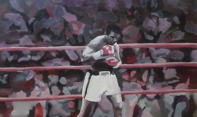 Muhammad Ali Oil Painting 28x16 NOT print / poster Framing Avail. Boxing Foreman