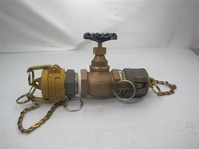 "7244 Fairbanks 3045 1 1/2"" Brass gate Valve w/ male and female Camlock Kamloc"
