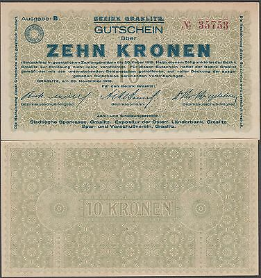 Czechoslovakia-Gralitz 10 Krone Banknote 1918 Uncirculated Condition