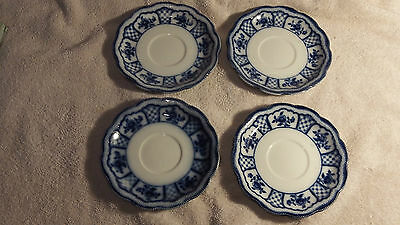 Four W.H. Grindley Flow Blue Saucers in the Pattern Albany 1899