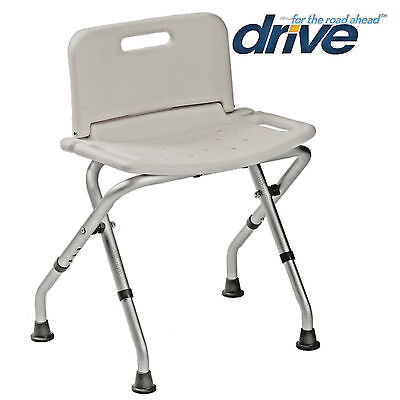 Folding Aluminium Bath Shower Stool Seat Bench. Adjustable Height with Backrest