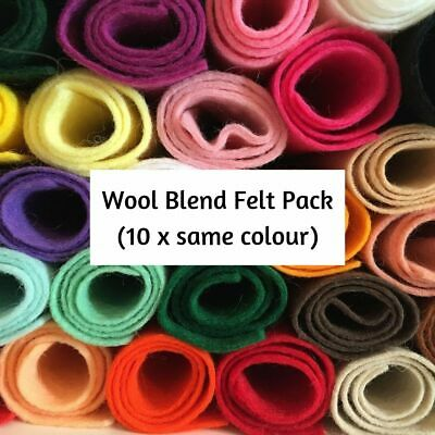 Wool Blend Felt Craft Pack (10 pieces per pack) choice of colours & pack sizes