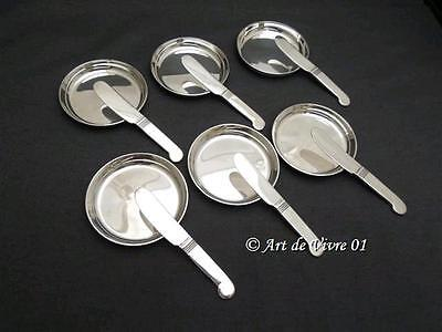 Christofle 6 Individual butter sets 6 Butter Knives Spreaders & 6 Butter Dishes