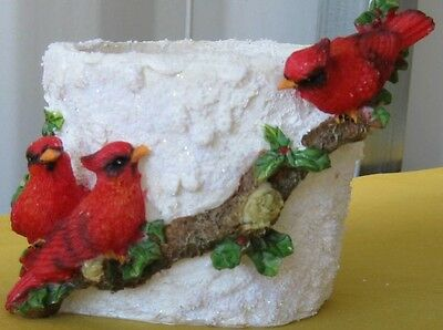 """2 pcs. 5.5""""x4"""" New Hand Painted Cardinal Resin Planter Tail High FREE SHIPPING!"""