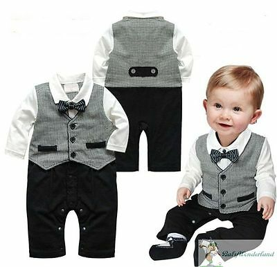 Baby Boys Long Sleeves Christening Wedding Tuxedo Vest Jumpsuit Romper Size0,1,2
