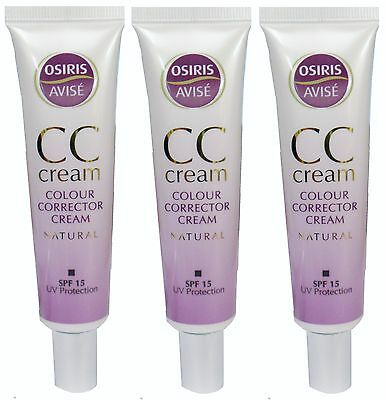 3 x 35ml Osiris Avisé CC Cream Colour Corrector Cream SPF 15 UV Protection