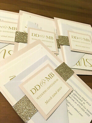 NEW Glitter Sleeve wedding invitations! Fully personalised, any colour x 25
