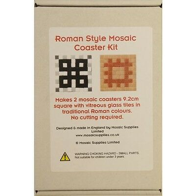 Mosaic kit to make 4 freestyle coasters in traditional Roman colours - complete