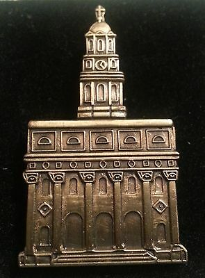 "NAUVOO TEMPLE Antique Gold 1-1/4"" Lapel Pin Mormon"