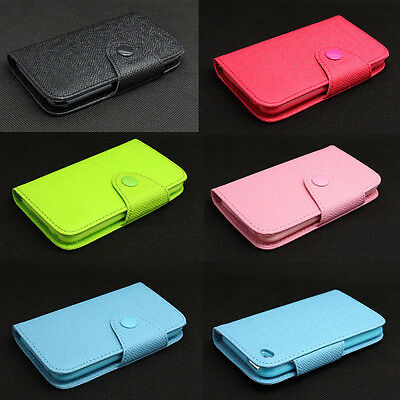 Button Deluxe Wallet Leather Flip + Tpu Skin Case Cover For iPod Touch 4 4TH Gen