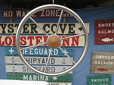 AUTHENTIC 16 inch CHROME STEEL BOAT SHIPS WHEEL SAILBOAT DECOR